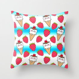 Cute funny sweet adorable little baby kitten ice cream cones with sprinkles and red ripe summer strawberries cartoon bright white and blue pattern design Throw Pillow