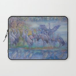 Wilde Birds in the forest lake Foggy morning Wildlife scene Autumn landscape pastel painting Laptop Sleeve