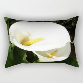 Beautiful White Calla Flowers In Bright Sunlight Rectangular Pillow