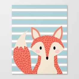 Cute fox illustration with stripes blue white and orange Canvas Print
