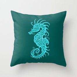 Intricate Teal Blue Tribal Seahorse Design Throw Pillow