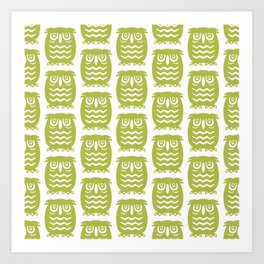 Mid Century Owl Pattern Chartreuse Art Print