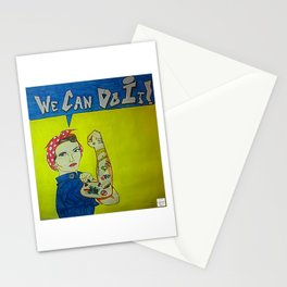 Modern Rosie the Riveter Stationery Cards