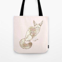 Floral Fennec Fox Tote Bag