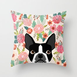 Boston Terrier florals flowers boho cute black and white boston terrier puppy dog pet portraits  Throw Pillow