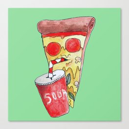 pizza drinking soda Canvas Print