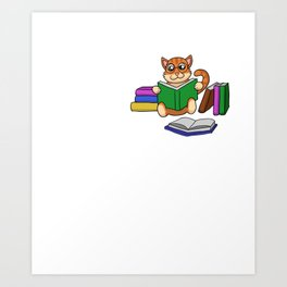 Book Reader Bookish Cat Lady Cat Mom A Woman Cannot Survive On Books She Needs A Cat Art Print