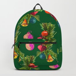 Christmas Bright Ornaments And Bells On Pine Branches Backpack