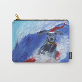 Christmas Surfing Weimaraner Carry-All Pouch