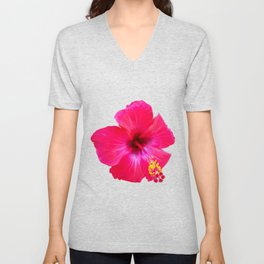 Red Hibiscus Unisex V-Neck