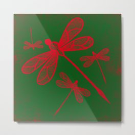 Red embroidered dragonflies on green textured background Metal Print