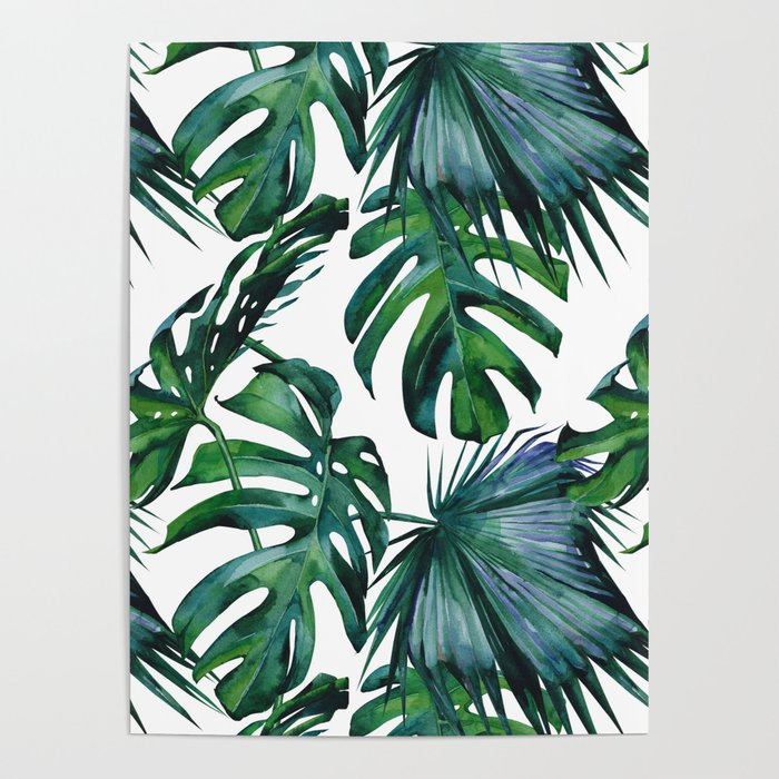 Tropical Palm Leaves Classic Poster By Followmeinstead
