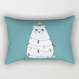 Grumpy Christmas Cat Rectangular Pillow