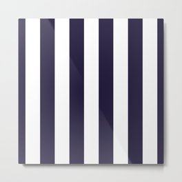 Dark eclipse Blue and White Wide Vertical Cabana Tent Stripe Metal Print