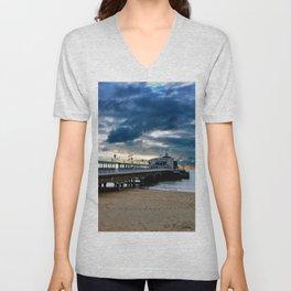 Bournemouth Pier And Beach Dorset Unisex V-Neck