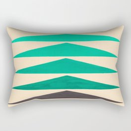 Colorful Turquoise Green Geometric Pattern with Black Accent Rectangular Pillow