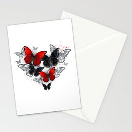 Realistic Black and Red Morpho Butterflies Stationery Cards