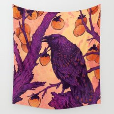Raven and Persimmons Wall Tapestry