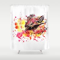 smaug Shower Curtains featuring Watercolor Smaug by Trinity Bennett