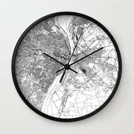 St. Louis White Map Wall Clock