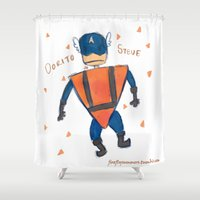 steve rogers Shower Curtains featuring Dorito Steve by Firefly Summers