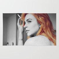lindsay lohan Area & Throw Rugs featuring Lindsay Lohan by Katieb1013