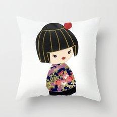 Japanese Geisha Doll Throw Pillow