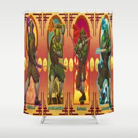teenage mutant ninja turtles Shower Curtains featuring Teenage Mutant Ninja Turtles TMNT by Brian Hollins art