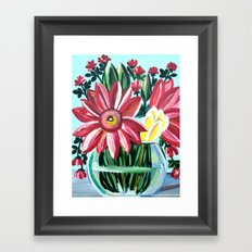 Bright Floral Turquoise Wall Art Painting, Perfect Gift! Framed Art Print