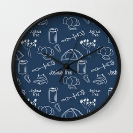 Dark Blue Joshua Tree Print Wall Clock