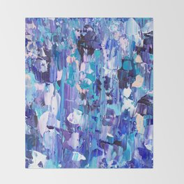 Modern blue acrylic abstract painting brushstrokes Throw Blanket