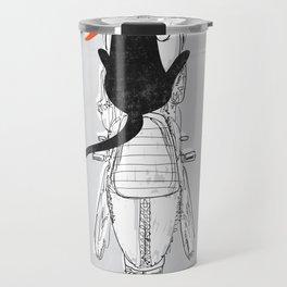 Cat Racer Motorcycle Art Print Travel Mug