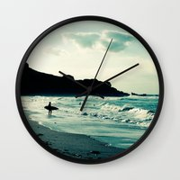 surf Wall Clocks featuring Surf by Hilary Upton