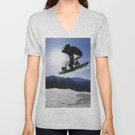 Born To Fly Snowboarder & Mountains Unisex V-Neck