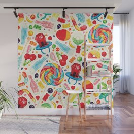 Candy Pattern - White Wall Mural