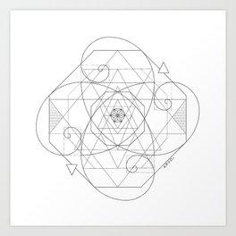 Fibonacci Geometric Mandala Art Print