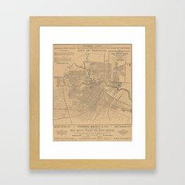 Vintage Houston Texas Railroad Map (1890) Framed Art Print