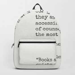 Charles W. Eliot quote about books Backpack
