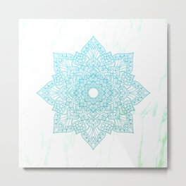 Aqua greenery flower mandala - marble Metal Print