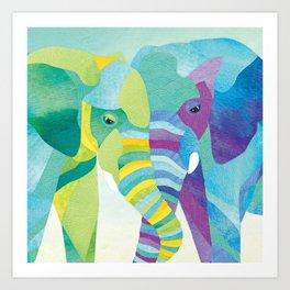 Shanti Sparrow: Winnie & Wilbur the Elephants Art Print
