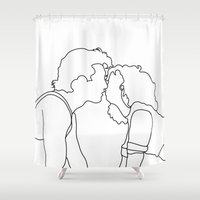 dirty dancing Shower Curtains featuring Dirty Dancing // Johnny and Baby by Bethany Mallick