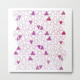 Tribal Triangles - Hot Pink Metal Print