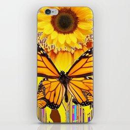 YELLOW SUNFLOWER ART & MONARCH BUTTERFLIES ABSTRACT iPhone Skin