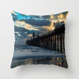 South Side Oceanside Pier ~10-2015 Throw Pillow