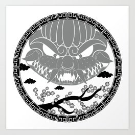 Foo Dog Gray Art Print