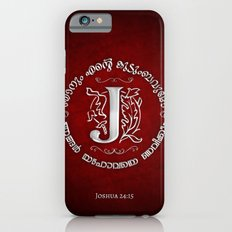 Joshua 24:15 - (Silver on Red) Monogram J iPhone 6s Slim Case