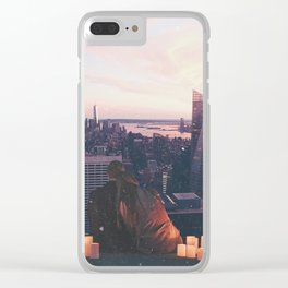 new york city skyline and couple-romance on the rooftop Clear iPhone Case