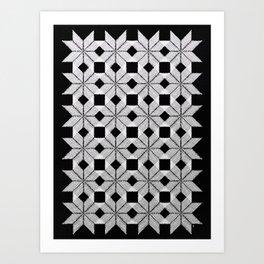 Silver Snow, Snowflakes #01 Art Print