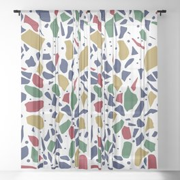Terrazzo Spot Color on White Sheer Curtain
