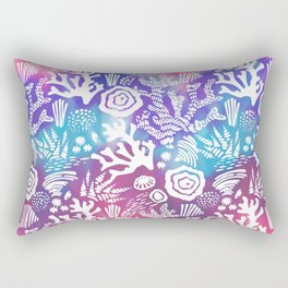 Nautical pink teal violet watercolor coral floral pattern Rectangular Pillow
